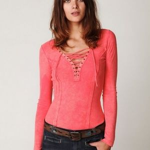 Free People Coral Pink Lace up Thermal Henley Top